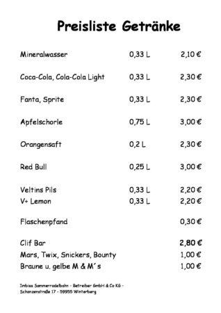 Großartig Getränke Preise Galerie - Innenarchitektur-Kollektion ...